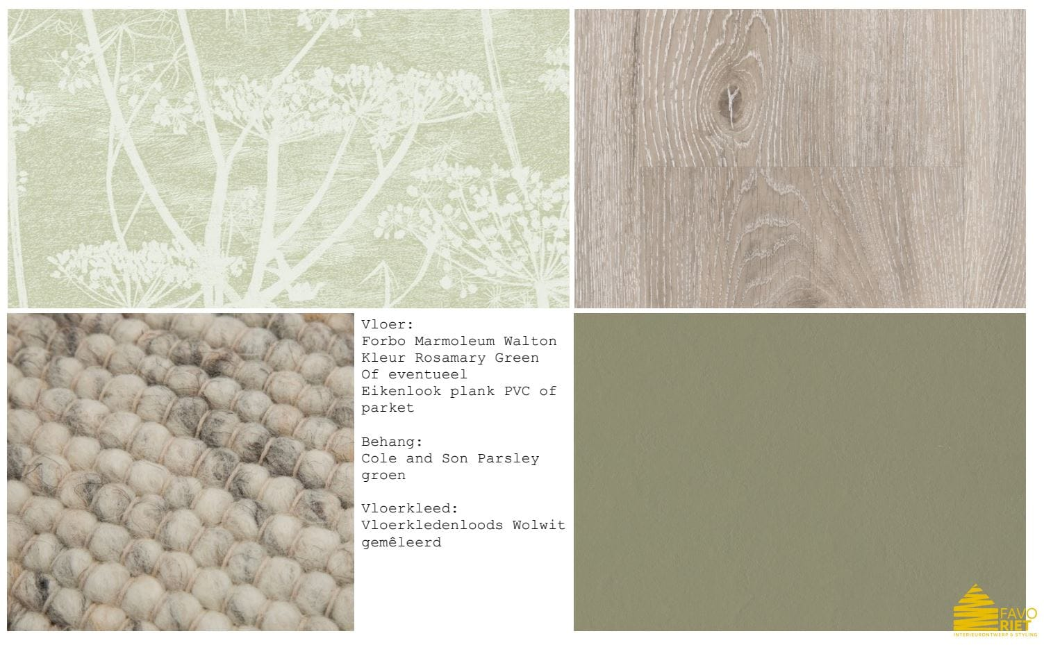 materialen en stoffen interieurplan