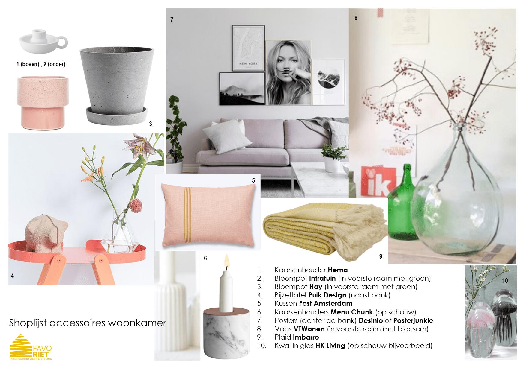 shoplijst woonkamer accessoires